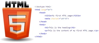 HTML5 logo with sample piece of HTML source code.