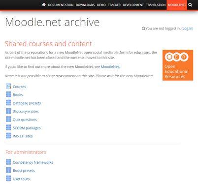 Screenshot of Moodle.Net archive