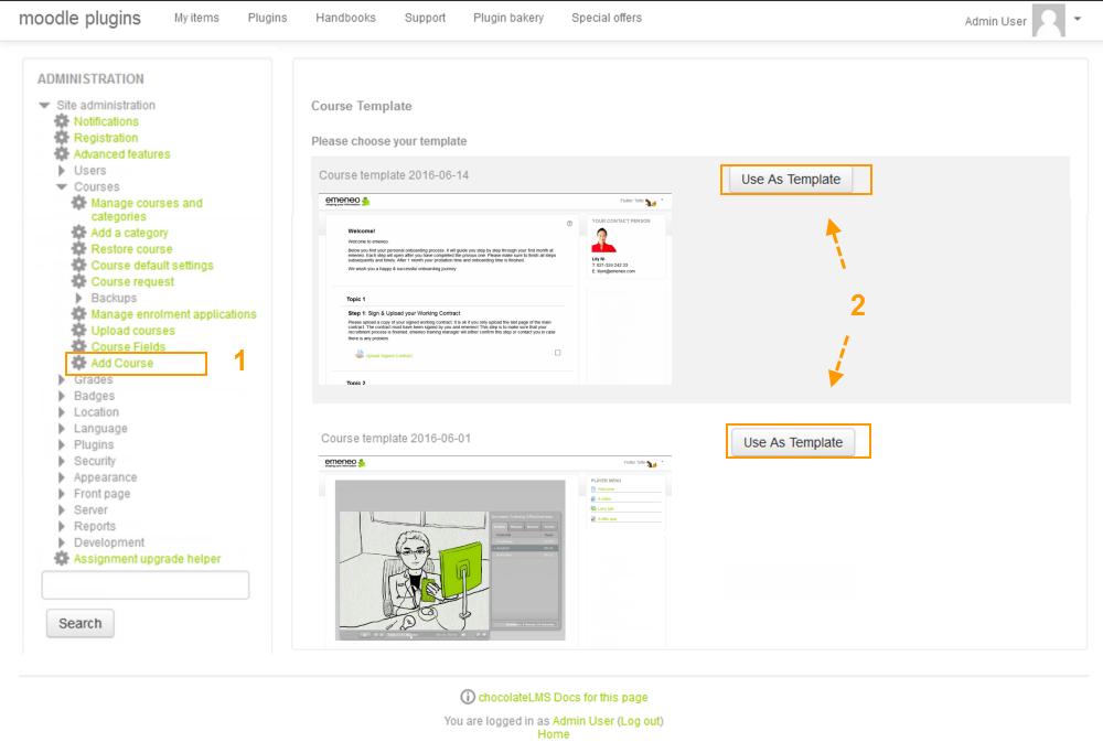 Screenshot of Course Template Plugin